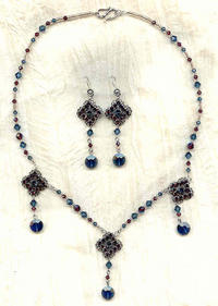 Hand Beaded Burgundy and Deep Blue Crystal Necklace and Earrings Set