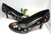 Shoes Dressy Womans Black Pumps Hand Decorated - Size 8