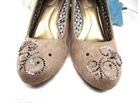 Beige Wedge Pumps Faux Suede Hand Decorated Crystal Stones - Size 8