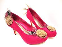 Pink Pumps Faux Suede Hand Embellished with Feathers - Size 7
