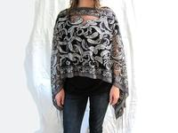 Evening Wrap Hand Beaded Charcoal Grey Paisley Versatile Fringed OOAK