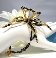 Slave Bracelet Beaded Night Flower Black and Gold Hand Jewelry