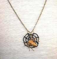 Spider in Web Pendant Necklace Halloween Jewelry