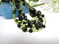 Statement Necklace Peridot Green and Black Long Multi-Strand