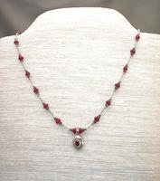Ruby Gemstone and Sterling Silver Pendant Necklace