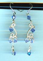 Tanzanite and Violet Swarovski Crystals Sterling Silver Earrings
