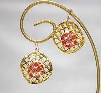 Swarovski Crystal Dangle Earrings Gold Caged Rose Rivoli Stones
