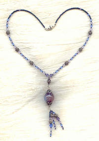 Lavender and Blue Blown Venetian Glass Focal Tassel Necklace