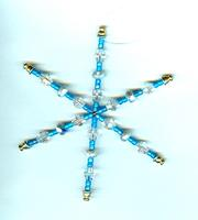 Hand Crafted Teal Glass Snowflake Christmas Tree Ornament