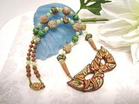 Tribal Woodland Mask Hand Beaded Necklace OOAK