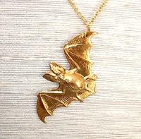 Vampire Bat Pendant Necklace Gold Plated Brass Stamping
