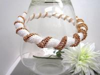 Unique Bead Woven Spiral Necklace White and Rose Gold