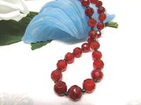 Faceted Gemstone Beaded Long Necklace Glowing Carnelian