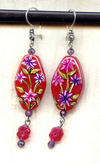 DAHLIA EARRINGS:  Handpainted Glass Beads and More