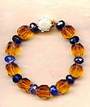 Topaz and Blue Violet Crystal Chunky Bracelet