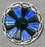 Art Moderne Style Beaded Brooch: Cobalt Blue and Black