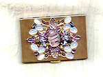 Card Case: Brushed Brass with Vintage Glass and Crystal Stones