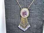 Carved Vintage Japanese Glass Fringed Pendant Necklace