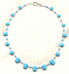 Collar of  Vintage Swarovski Turquoise Crystal Pendants and Beads