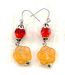 Vintage Acrylic Tangerine Roses and Swarovski Crystal Earrings