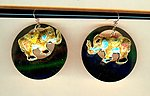 Artisan Crafted Golden Disc Earrings with Cloisonne Elephants