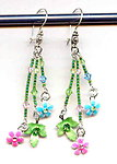 Colourful Rose and Aqua Flower Dangle Earrings
