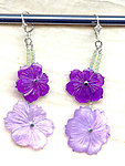 Violet Carved Hammershell Flowers Double Drop Earrings