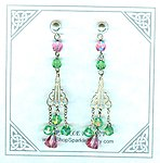 Vintage Victorian Style Peridot and Rose Hand-Cut Crystal Earrings