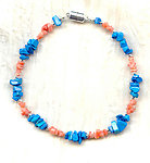 SMALL PET COLLAR: Turquoise Howlite, Coral and Magnetic Clasp