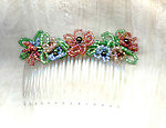 Hair Comb with Coral and Pink Seed Bead Flowers