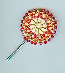 Whirligig Hair Pin: Crimson Red and Gold Hair Ornament