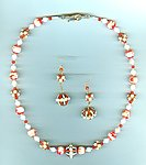 Fire and Snow Jewelry Set: Vintage Rhinestone and Enamel Beads