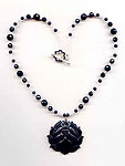 Midnight Lotus Necklace: Carved Stone Lotus Pendant and Beads