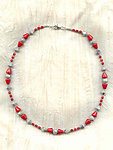 Vintage Opaque Red Glass and Dove Grey Crystal Art Deco Style Necklace