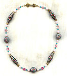 Vintage Grey Lampwork Glass, Pink Roses and Austrian Crystals Necklace