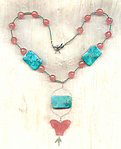 Cherry Glass Butterfly and Turquoise Howlite Pendant Necklace