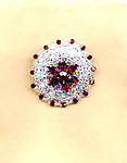 Swarovski Crystal Siam Ruby, Violet and Light Azore Embroidered Brooch