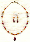 CINNAMON AND NUTMEG JEWELRY SET: Cubic Zirconia Beads and Pendants