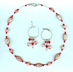 Vintage Deep Red and Silver Glitter Lucite Necklace and Earrings Set