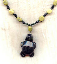 Hand Beaded Man's Yellow Turquoise Turtle Totem Pendant Necklace