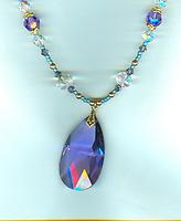 Blue Violet Crystal Teardrop Pendant Necklace