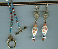 Fish Dinner Jewelry Set: White, Copper, Turquoise Cloisonne Pendants