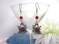 Black Widow Earrings Handmade Beaded Halloween Jewelry