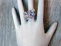 Swarovski Crystals AB Hand Beaded Adjustable Cocktail Ring