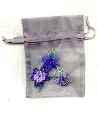 Sheer Iridescent Silver Gift Bag with Beaded Floral Motif