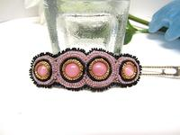 Hair Barrette Hand Beaded Vintage Glass Lavender Black OOAK