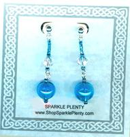 Turquoise Blown Glass Long Lightweight Earrings