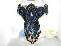 Fringed Beadwork Peacock Eye Choker Statement Necklace