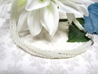 Bead Woven Spiral Necklace Pearl White and Swarovski Crystals
