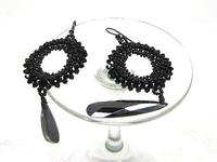 Long Lightweight Black Bead Woven Earrings Prom Elegant Bling